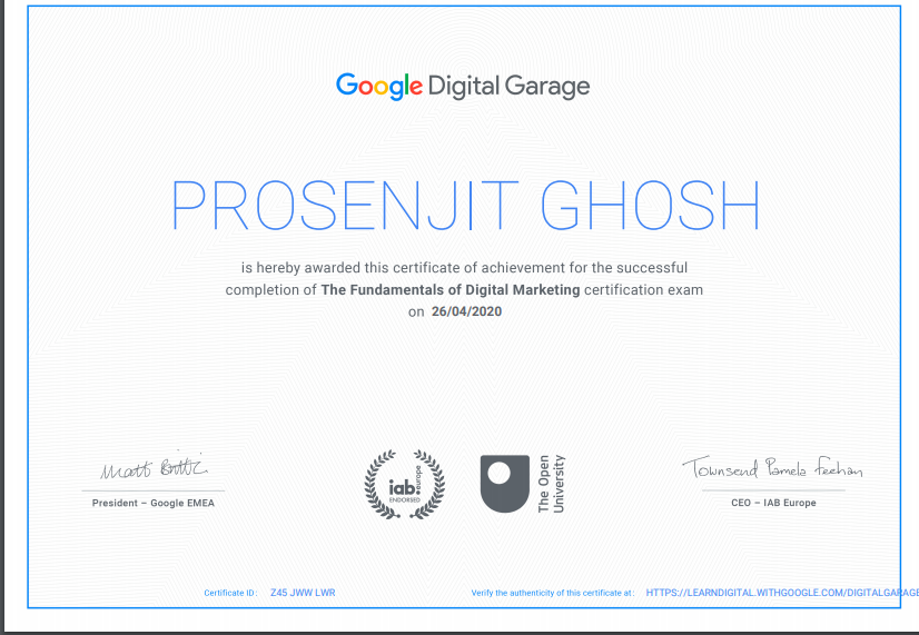 Google CERT Digital marketing